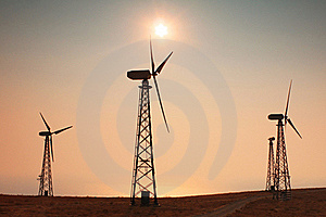 Windmills At Sunset Royalty Free Stock Photo - Image: 18691355