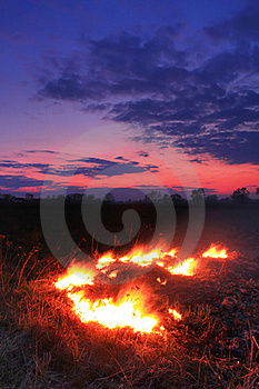Spring Fires In A Field Royalty Free Stock Photos - Image: 18691528