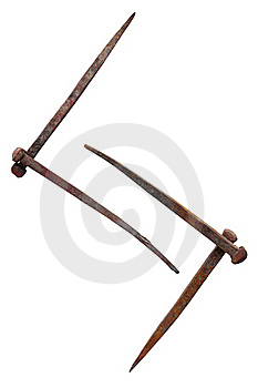 Scandinavian Rune Jera And Old Rusty Nails Royalty Free Stock Photography - Image: 18693637