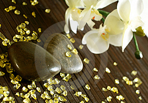Stones, Bath Salts And Orchid Flower Royalty Free Stock Photo - Image: 18696045