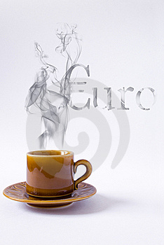 Cup With Smoke Euro Shape Royalty Free Stock Images - Image: 18696589