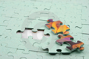 Jigsaw 3 bits out Stock Photography