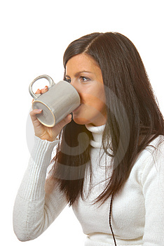Attractive Brunette With Teacup Stock Photo - Image: 1877250