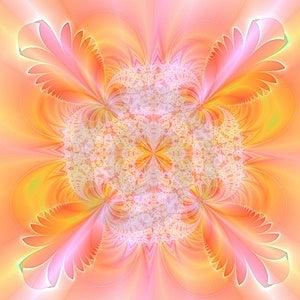 Arancione, bianco, rosso e rosa, sfondo astratto con una piuma di design.