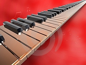 Long Keyboard Piano On Red Background.jpg Stock Photos - Image: 18712423