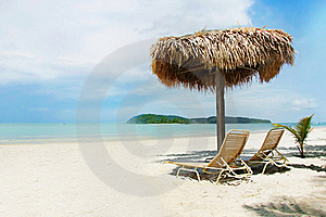 Chairs And Umbrella On Beach Royalty Free Stock Photos - Image: 18719088