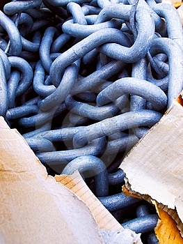 Steel Chain And Carton, Contrast Solid-tearable Stock Photos - Image: 18719773
