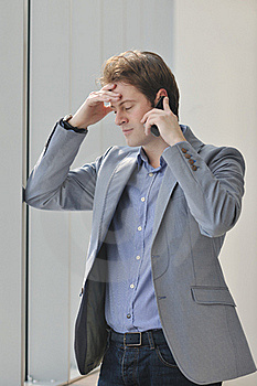 Young Business Man Talk By Cellphone Stock Image - Image: 18720541
