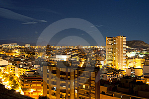 Night Panorama City Alicante Stock Image - Image: 18720641