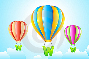 WWW Hanging From Hot Air Balloon Royalty Free Stock Images - Image: 18726609