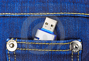 Flash Memory In Jeans Pocket Stock Images - Image: 18730154