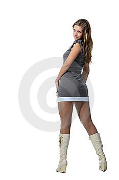 Woman In A Grey Dress Stock Photos - Image: 18730533