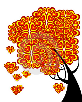 Graphic Tree Of Love With Hearts Stock Photos - Image: 18732793