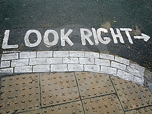 Look Right Pedestrian Crossing Road Sign Stock Photo - Image: 18733290