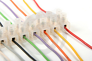 Closeup Of Colorful Electric Wires In Connectors Royalty Free Stock Photography - Image: 18734187