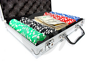 A Briefcase With Poker Chips And Money Royalty Free Stock Image - Image: 18739306