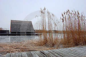 Hut In Frozen Lake Stock Photography - Image: 18741232