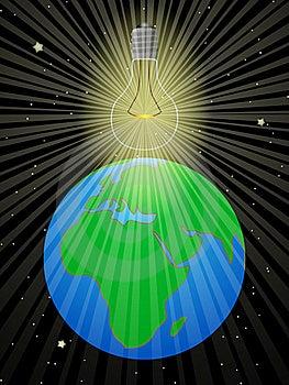 Bulb Illuminates The Earth Royalty Free Stock Photo - Image: 18743385