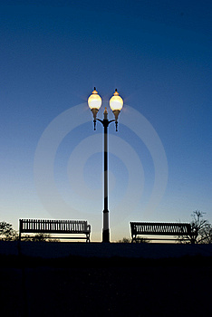 Park Benches In The Evening Stock Images - Image: 18744774