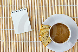 White Cup Of Hot Coffee And White Sketch Book Stock Images - Image: 18745754