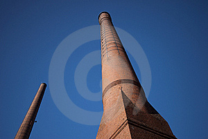 Two Brick Chimneys Stock Photo - Image: 18746050