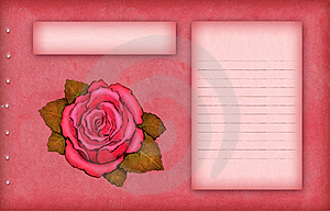 Pink Scrap Paper With Rose Stock Image - Image: 18746721