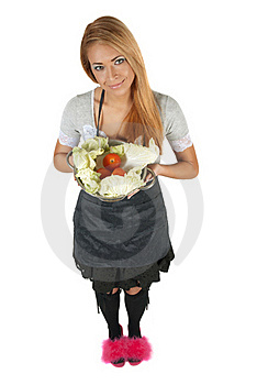 Portrait Of Happy Young Woman Holding A Pot Full O Stock Image - Image: 18748661