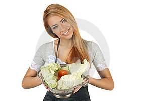 Portrait Of Happy Young Woman Holding A Pot Of Gro Royalty Free Stock Photos - Image: 18748668
