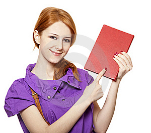 Red-haired Girl Keep Book In Hand. Royalty Free Stock Photography - Image: 18755067
