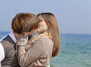 Couple Kissing At Spring Sea. Stock Photo - Image: 18755110