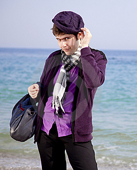 Style Men In Violet At The Beach. Royalty Free Stock Image - Image: 18755126