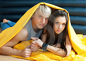 Young Couple In Bed Royalty Free Stock Photo - Image: 18758795