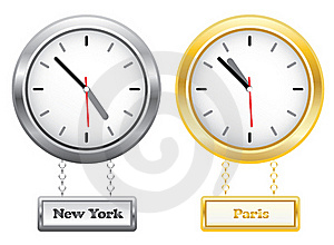 Silver And Golden Clocks Showing Time In New York Royalty Free Stock Photography - Image: 18759737
