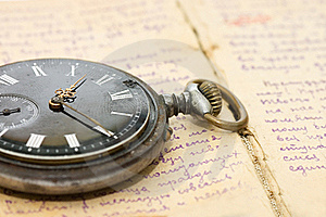 Watch On An Old Notebook With The Text Royalty Free Stock Images - Image: 18760139
