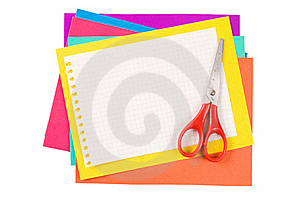 Colour Paper With Scissors Stock Image - Image: 18760151