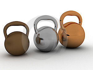 Three Weights Are Made of Bronze №2 Royalty Free Stock Photo - Image: 18761275