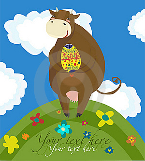 Happy Easter Cow Background Stock Image - Image: 18762811