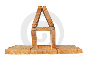 House From Bread On A White Royalty Free Stock Image - Image: 18770156