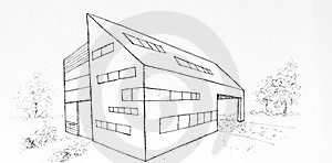 Modern Building Drawing Made With Black Ink Royalty Free Stock Photos - Image: 18781428