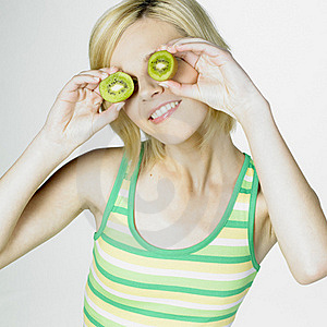 Woman With Kiwi Stock Images - Image: 18782894