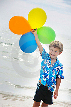 Young Happy Boy Running With Balloons Royalty Free Stock Image - Image: 18784186