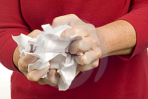 Rejecting Paperwork By Crumpling Up Paper Royalty Free Stock Photo - Image: 18786945