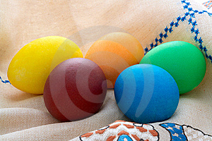 Easter  Painted Eggs On Unbleached Linen With Embr Royalty Free Stock Image - Image: 18792006