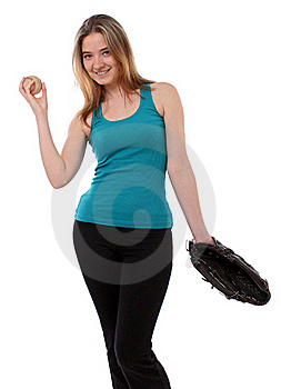Woman With A Baseball Glove Stock Image - Image: 18793741