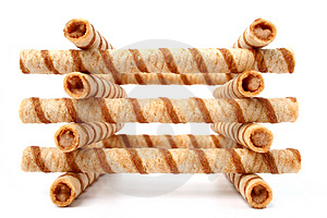 Heap Of Striped Wafer Tubules With The Chocolate Cream, Isolated Stock Images - Image: 1888014
