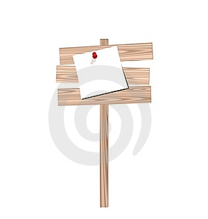 Wood Billboard With Attached Blank Paper Stock Images - Image: 18800674