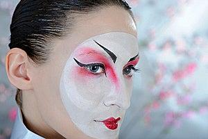 Japan Geisha Woman With Creative Make-up. Stock Images - Image: 18800974
