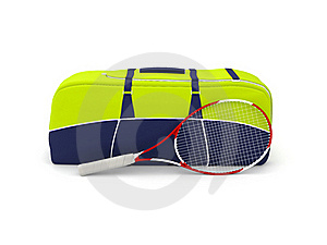 Isolated Tennis Bag And Racquet Stock Image - Image: 18804091