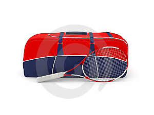 Isolated Tennis Bag And Racquet Royalty Free Stock Photo - Image: 18804105