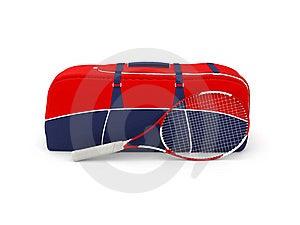 Bolso Y Raqueta Aislados Del Tenis Foto de archivo libre de regalías - Imagen: 18804105